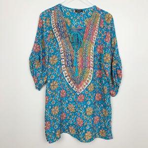 Tolani | Bohemian Floral Print Silk Tunic Dress M